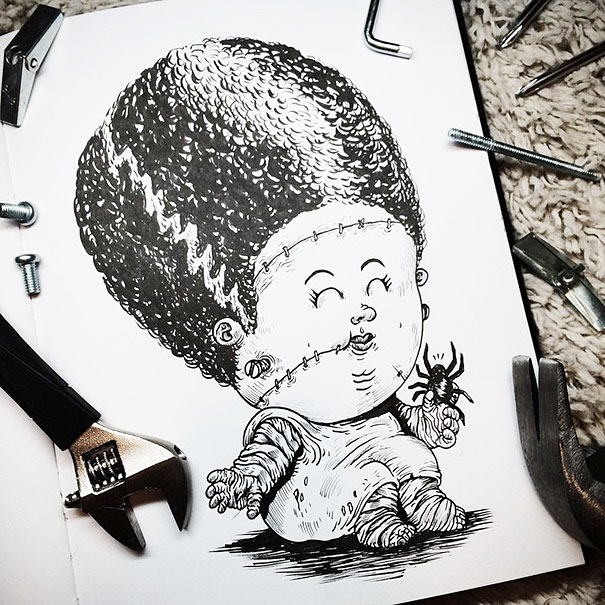 baby-terrors-iconic-horror-monsters-illustrations-alex-solis-17